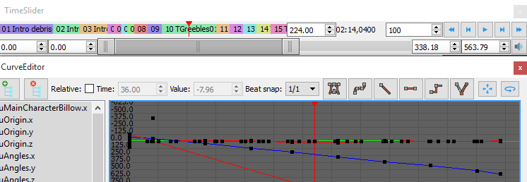 Screenshot of the time slider paired with the curve editor, showing shot layout on the timeline, playback & looping controls and synchronization between the curve and time slider playheads