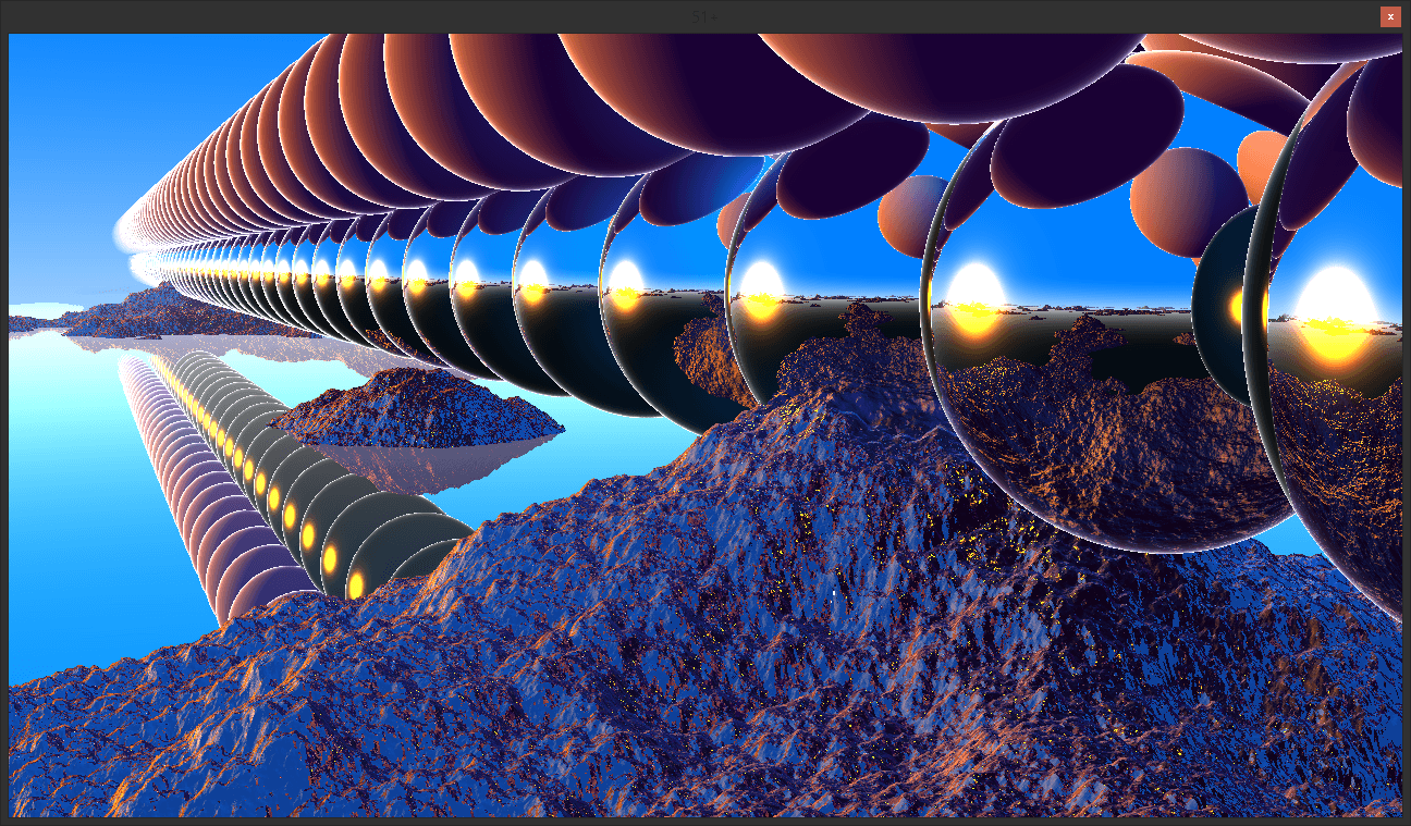 """Image showing repeated spheres across a terrain, with both rough and smooth (reflective) spheres and a reflective """"water"""" plane. Showing off stability in the distance"""