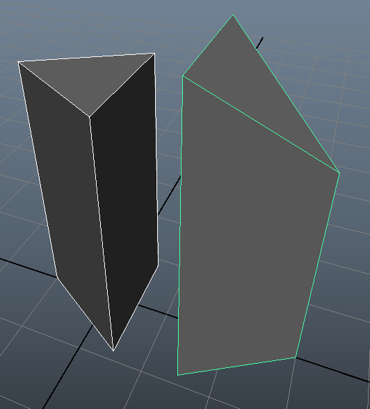 Screenshot of flat top and slanted top prisms
